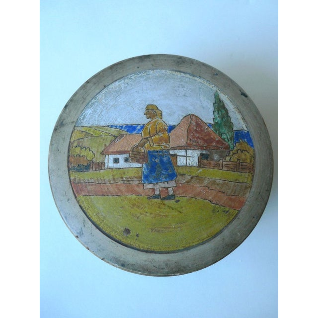 Image of Sugar Container With Painted Pastoral Scene