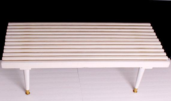 Mid Century White Slat Bench Coffee Table   Image 3 Of 6