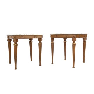 Pair of Neoclassical Marble Top End Tables