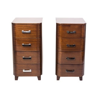 Art Deco Solid Mahogany Nightstands - A Pair