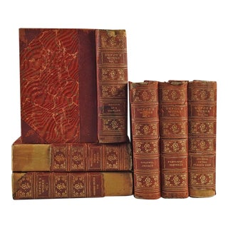 Vintage Leather Bound Daniel Defoe Books - Set of 6