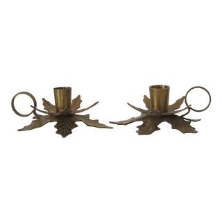 Brass Holly Leaf Candle Holders - A Pair