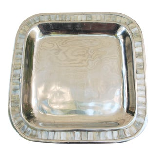 Aluminum and Mother of Pearl Square Tray