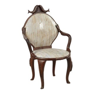 19th Century Fish Carved Arm Chair with Eel Skin Upholstery