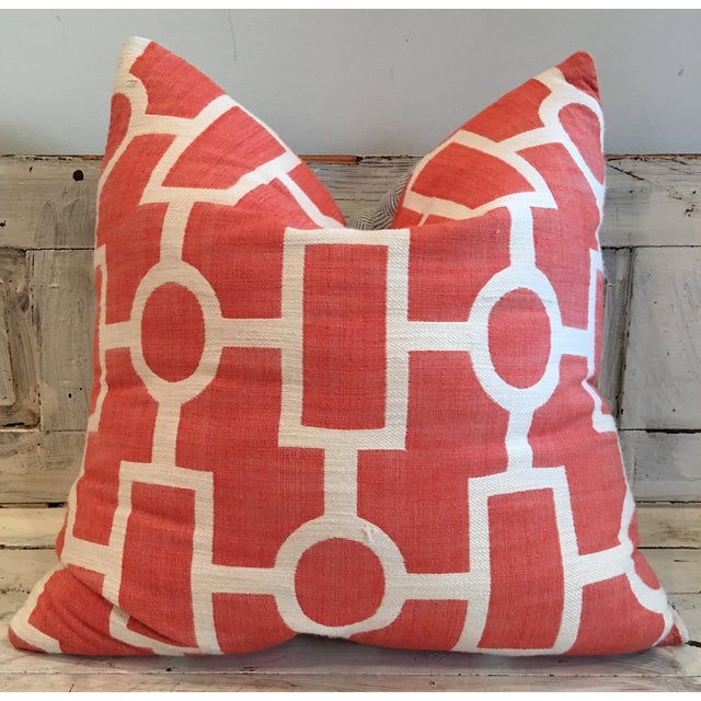 Geometric Coral and Off White Pillows - 2 - Image 2 of 5
