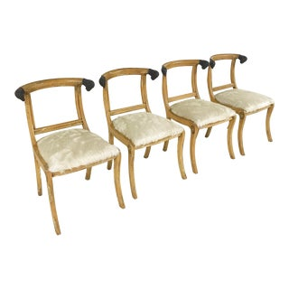 French Ram Head Ivory Cowhide Side Chairs - Set of 4