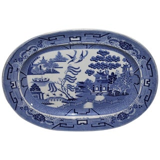 Early and Rare 19th Century Oversized Blue Willow Serving Platter