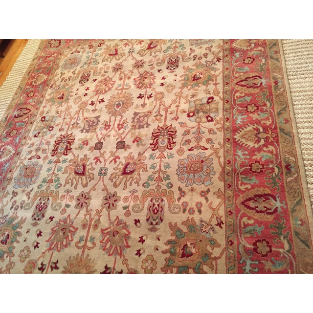 Designer Wool Rug Cream & Red - 8' x 11' - Image 6 of 10