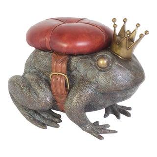 Vintage Cast Bronze Frog Toad Stool