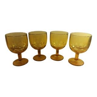Bartlett Collins Thumbprint Amber Pedestal Goblets - Set of 4