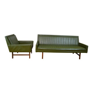 Milo Baughman for Thayer Coggin Mid Century Modern Matching Chair and Sofa Set