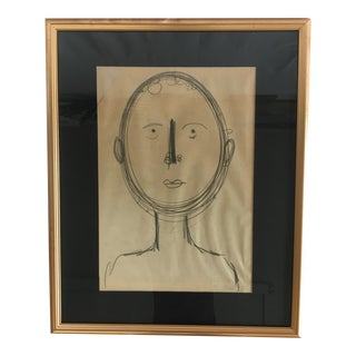 Large Framed Sketch by Artist Robert Gilberg (1911-1970)