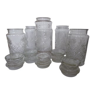 Vintage Decor Clear Glass Jars - Set of 5