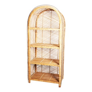 Vintage Boho Chic Wicker Bookcase with Dome Top