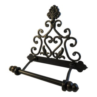 Rustic Black Wrought Iron Toilet Paper Dispenser