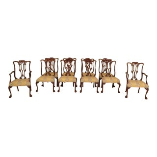 Georgian Mahogany Highly Carved Dining Room Chairs - Set of 10