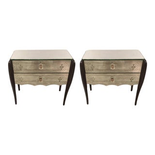 Glitzy Mirrored French Deco Nightstands - A Pair