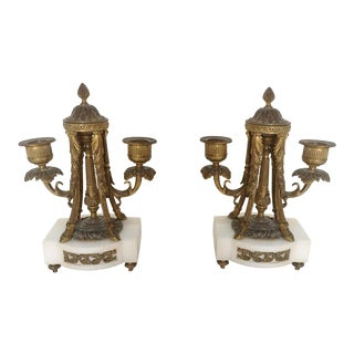Bronze & Marble Candlesticks - Pair