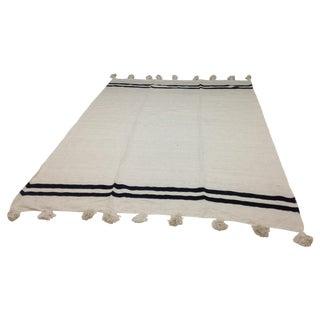 White Moroccan Striped Pom Pom Blanket