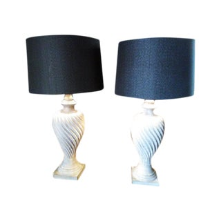 Black & Gray/White Swirled Urn Lamps - a Pair