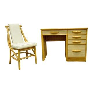 Mid-Century Modern Grasscloth Rattan & Bamboo Desk & Chair - A Pair