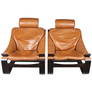 1970s Modern Leather Chairs - A Pair