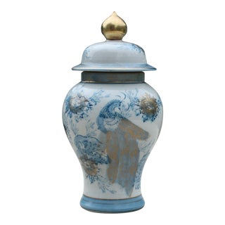 Vintage Blue, White & Gold Kutani Porcelain Temple Jar / Vintage Gold Imari Blue Peacock Ginger Jar With Lid
