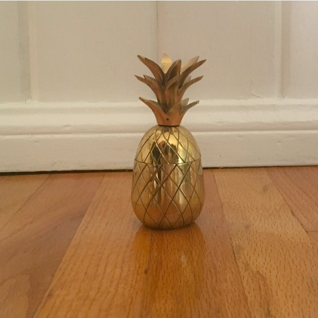 """Image of Petite 4.5"""" Brass Pineapple Container"""