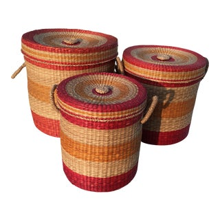 Vintage Bohemian Grass Nesting Baskets - Set of 3
