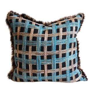 """Pillow Made from Vintage Chanel Tweed with Fur Trim - 19"""" x 19"""""""