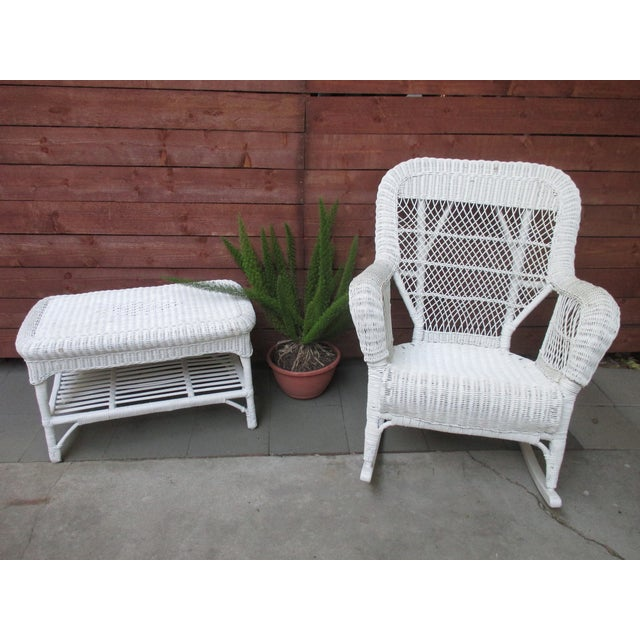 white wicker rocking chair chairish. Black Bedroom Furniture Sets. Home Design Ideas