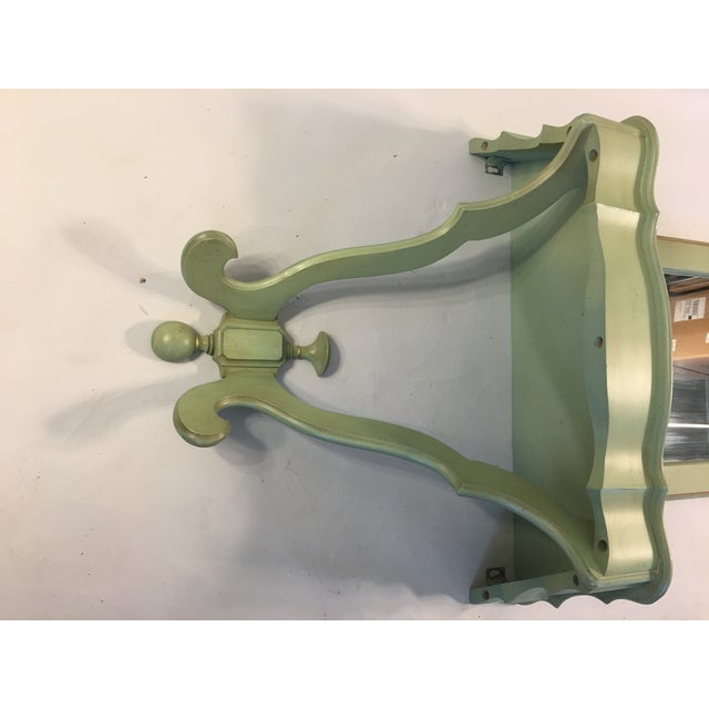 Shabby Mint Green Foyer Demilune Table Wall Shelf & Mirror - A Pair - Image 7 of 9