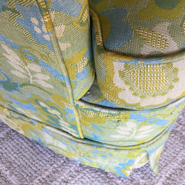 Mid-Century Blue-Green Floral Accent Chair - Image 5 of 8