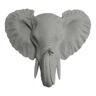 Gray Faux Elephant Head Wall Bust