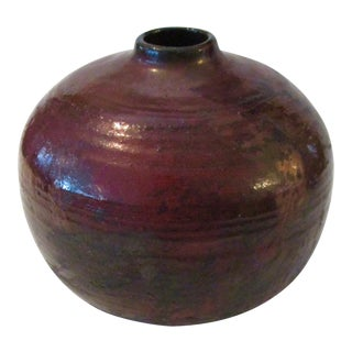 Metallic Glazed Raku Vase Weed Pot