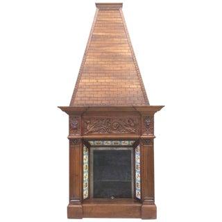 19th C. Walnut Fireplace Chimney