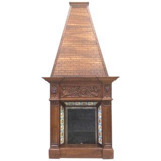 19th C. Walnut Fireplace Chimney