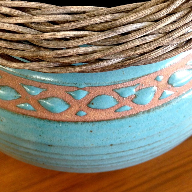 Weaved Wood And Teal Ceramic Vessel - Image 6 of 7