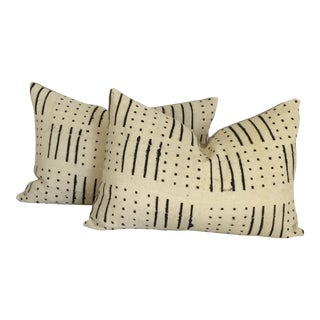 Vintage African White Mudcloth Pillows- A Pair