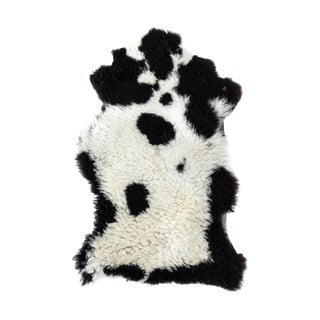 "Aydin Authentic Handmade Sheepskin Rug, Seat Cushion, Black-White-- 1'8"" x 3'0"""