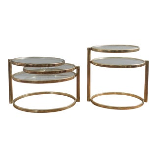 Round Brass End Tables by Milo Baughman - A Pair
