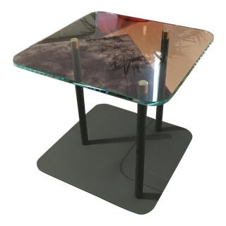 Glass & Powder Metal Side Table