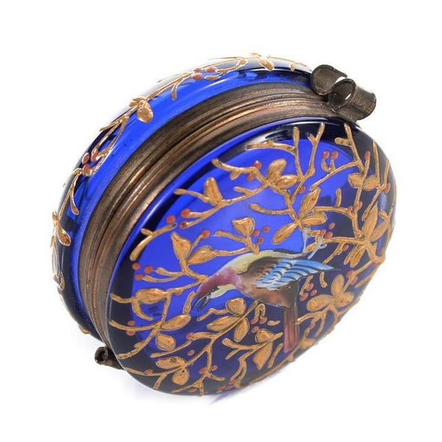 Cobalt Blue Glass Painted Antique Pill Box - Image 1 of 9