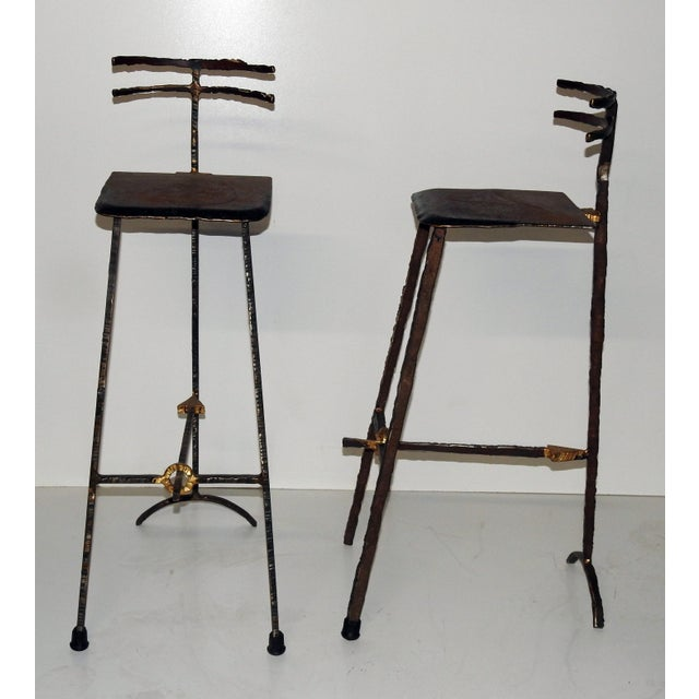 Mid-Century Modern Giacometti Style Bar Stools - A Pair - Image 2 of 8