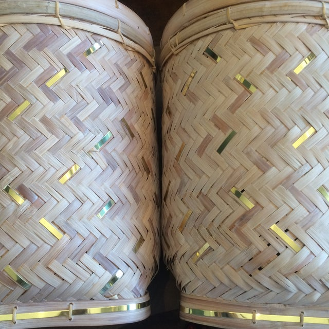 Rattan Basket Lamps With Brass Accents - a Pair - Image 6 of 7
