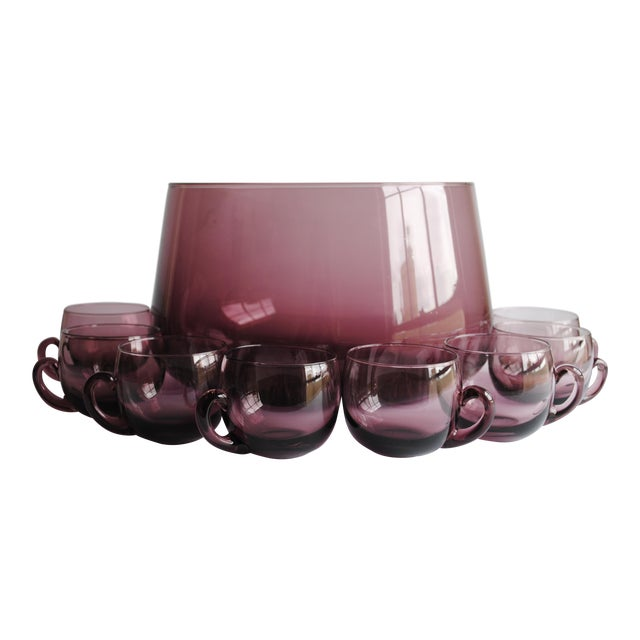 Mid-Century Punch Bowl & Glasses - Image 1 of 5