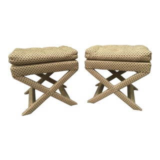 Hollywood Regency Upholstered X Benches - A Pair