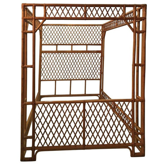Rattan Bamboo Chinese Chippendale Queen Canopy Bed - Image 11 of 12