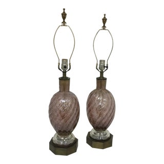 Barovier E Toso Murano Glass Lamps - A Pair