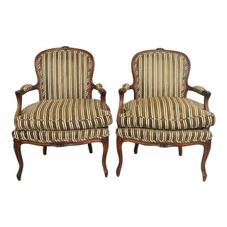 Vintage French Country Louis XV Style Arm Chairs - A Pair